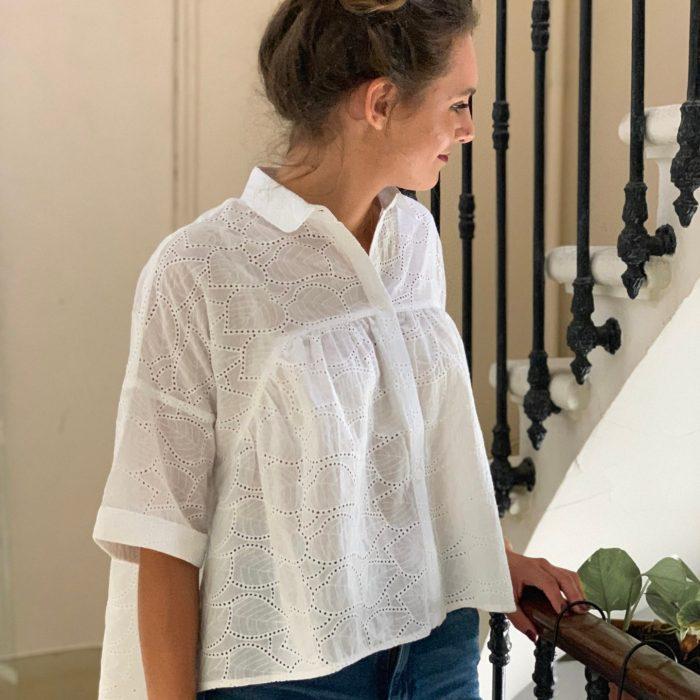 blouse en dentelle, blouse blanche, blouse oversize, blouse ample, blouse manches courtes