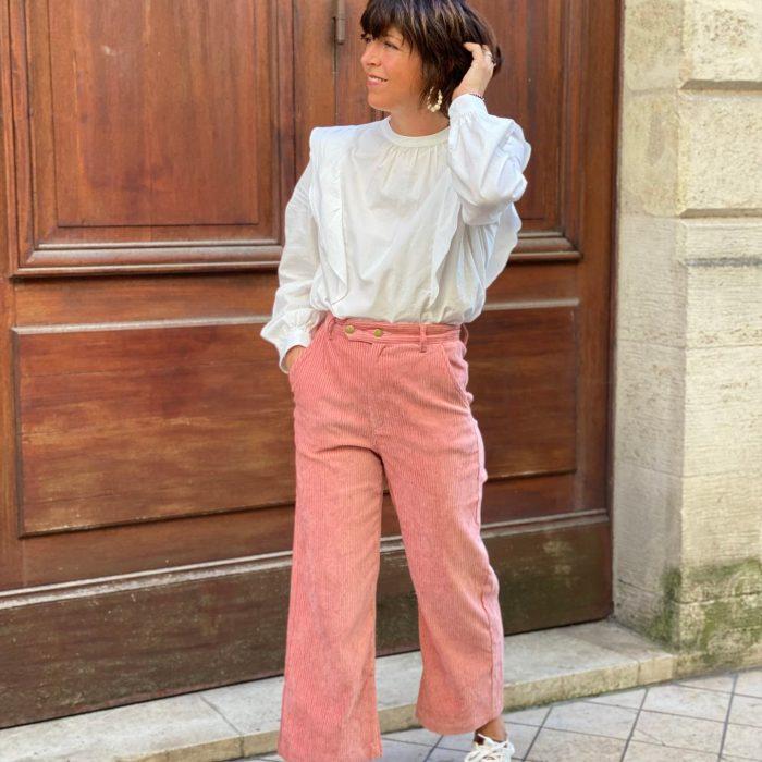 pantalon en velours, velours côtelé, velours rose, garance, maison prune