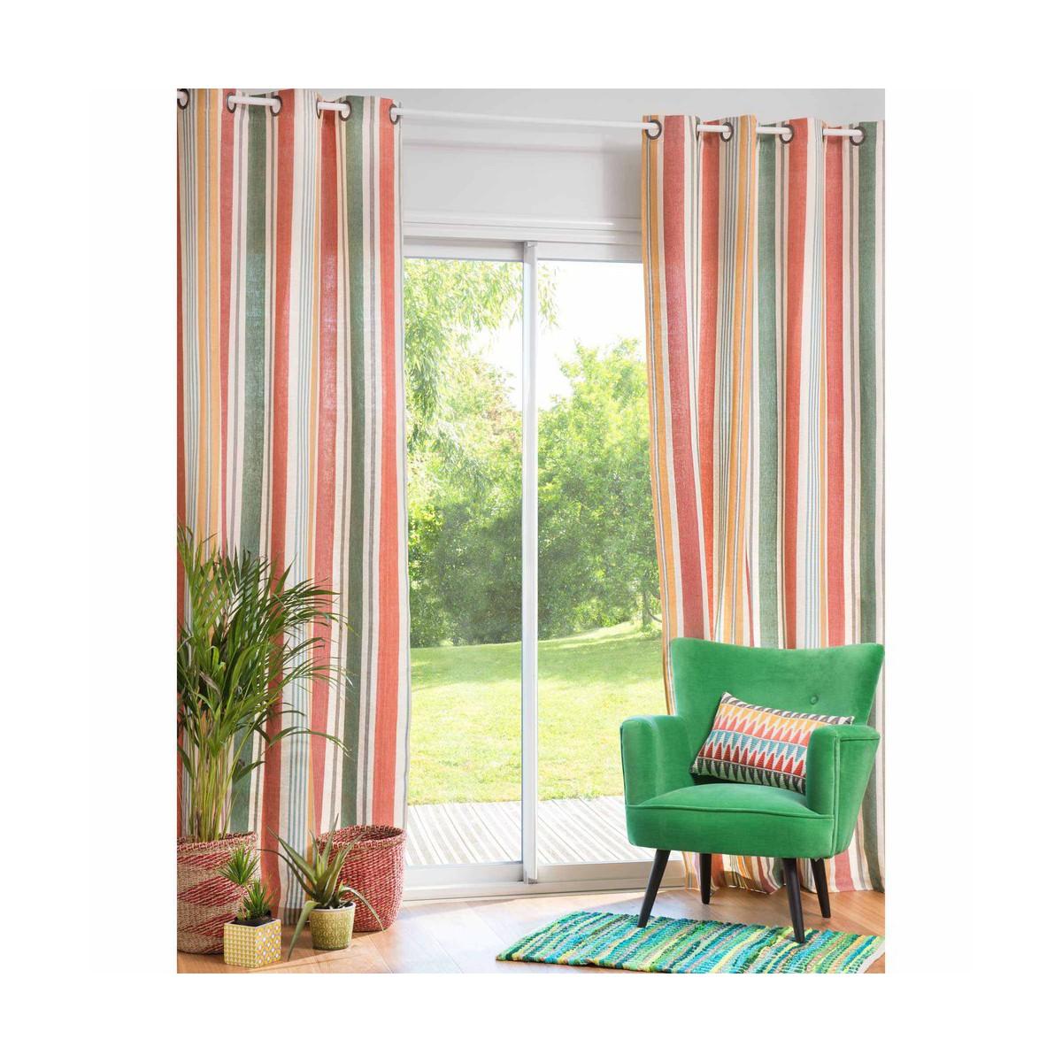 Rideau Illets En Coton Ray Multicolore With Maison Du