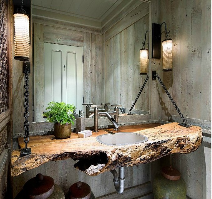 modern bathroom design with rocks