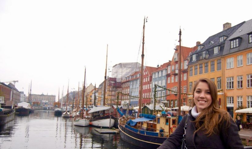 Canal de Nyhavn em Copenhague, Dinamarca