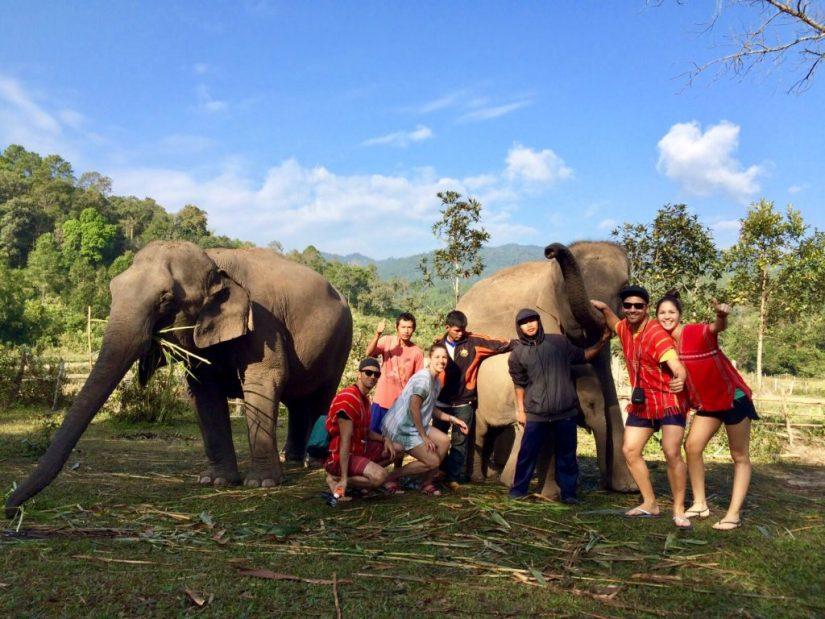 Elephant sanctuary in Chiang Mai, santuário de elefantes na Tailândia