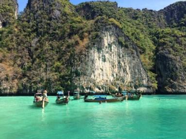 Long tail boats in Maya Bay