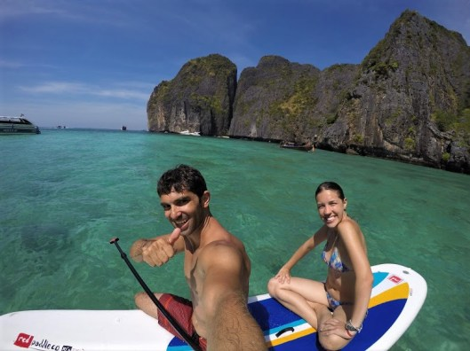 Couple on a paddle board in Phi Phi Leh, Thailand