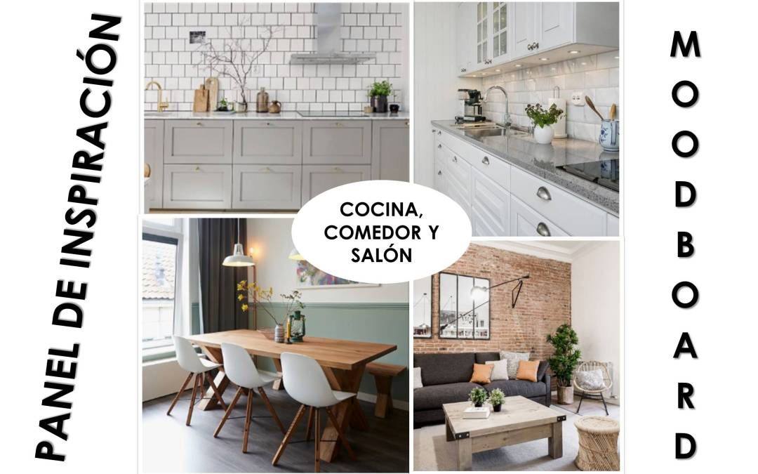 Panel de inspiración o moodboard para definir el estilo y decoración de mi casa