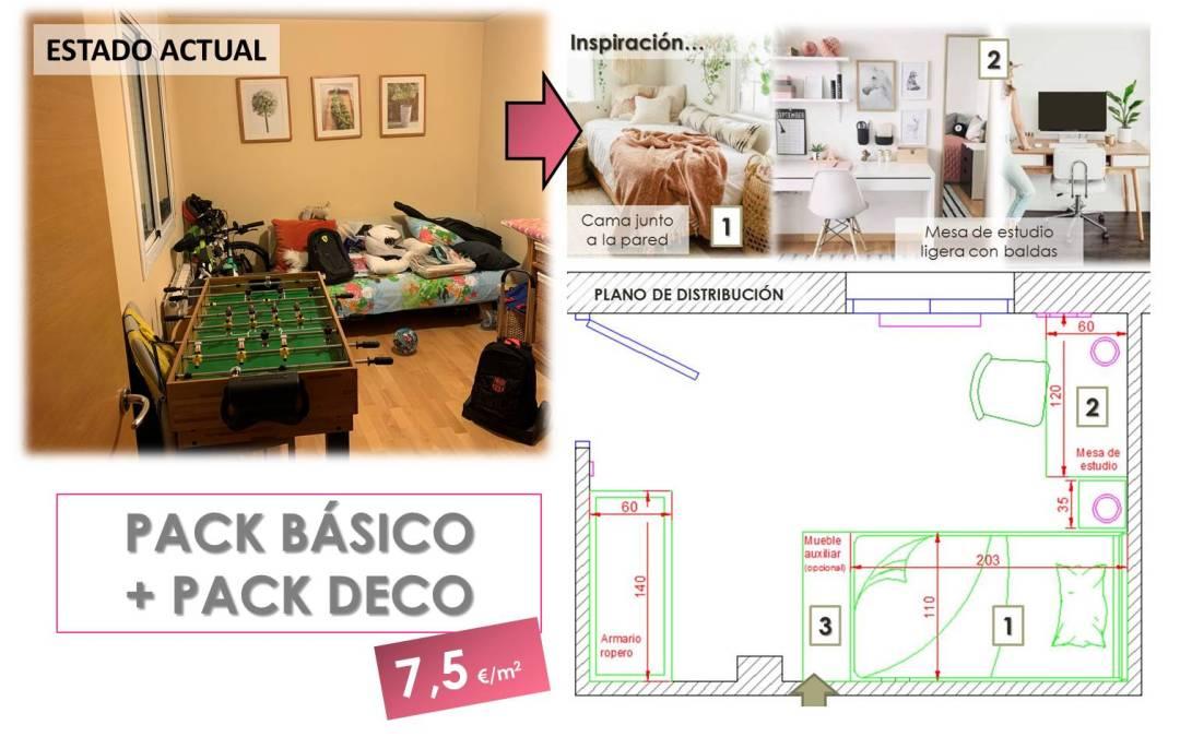 Pack Básico + Pack Deco. La transformación de una habitación juvenil de 10 m2