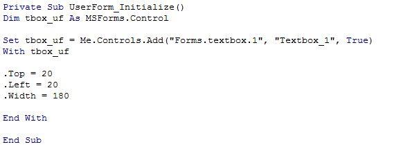 Excel VBA userform dynamique ajout textbox