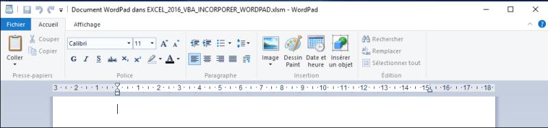 EXCEL_2016_VBA_INCORPORER_WORDPAD Excel 2013 : Comment lancer Wordpad en moins de 6 min avec EXCEL VBA.