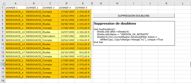 Excel 2016 : Comment supprimer ligne en doublons sur une plage sur Excel VBA en moins de 5 min