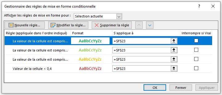 Excel 365 : graphique anneau mise en forme conditionnelle
