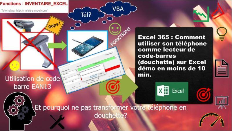 Excel 365 : démo utiliser un lecteur de code-barres (douchette) sur Excel.