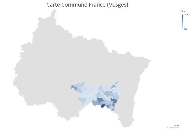 Excel 365 : Créer une carte Choroplèthe des communes France sur Excel en moins de 15 min. exemple carte des communes Vosges