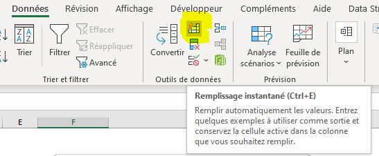 Excel 365 : Comment utiliser la fonction Flash Fill : Symbole