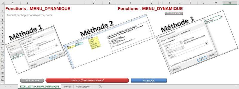 Excel 365 : Créer un menu dynamique sur Excel méthode sélection plage