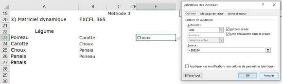 Excel 365 : Créer un menu dynamique sur Excel méthode matriciel dynamique