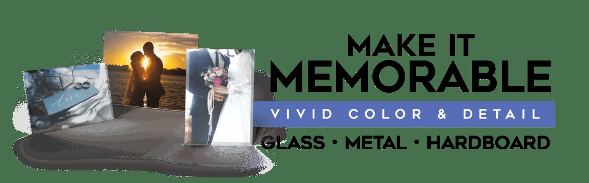 Wedding Photos on Glass, Metal & Hardboard