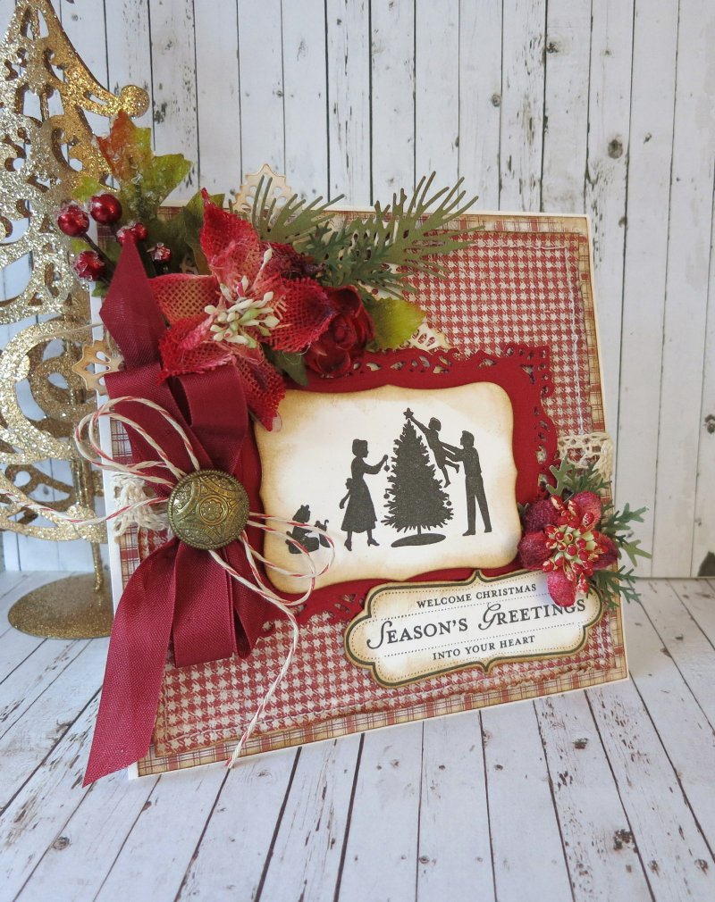 Enjoy christmas majadesign to complete my card i have added other vintage elements such as lace seam binding and a vintage buttonthings from my stash m4hsunfo
