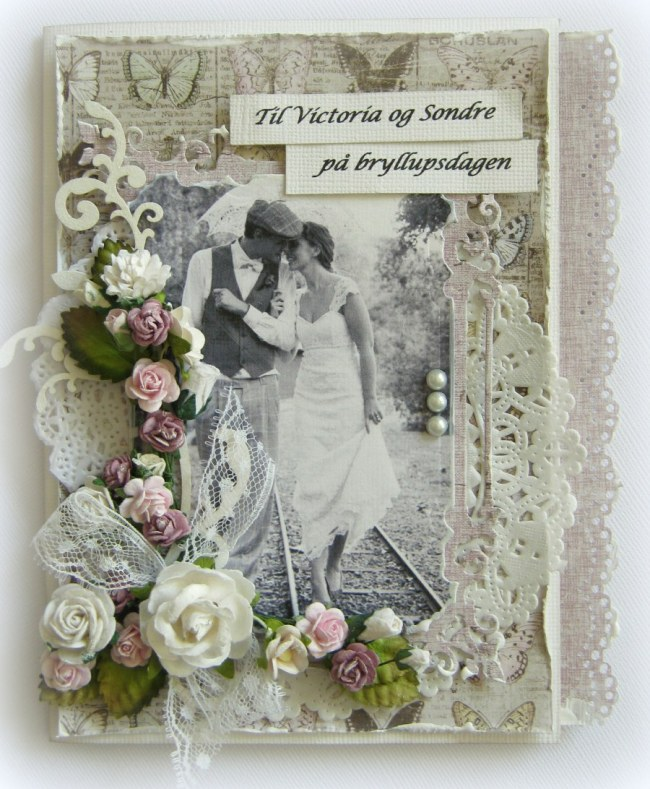 Heidi's wedding card, using Vintage Spring Basics