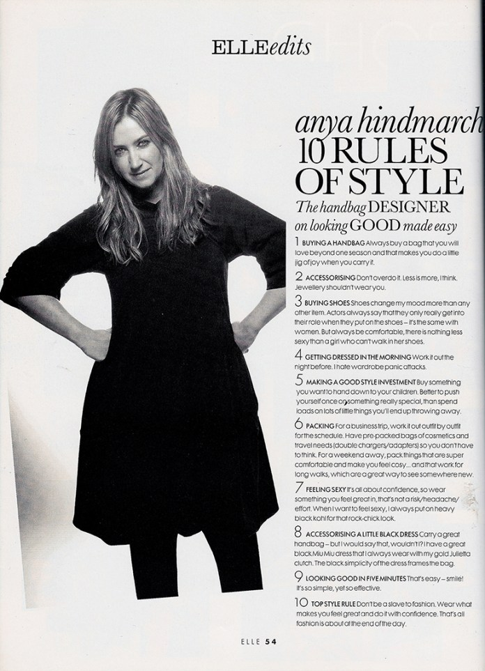 Anya Hindmarch 10 Rules of Style