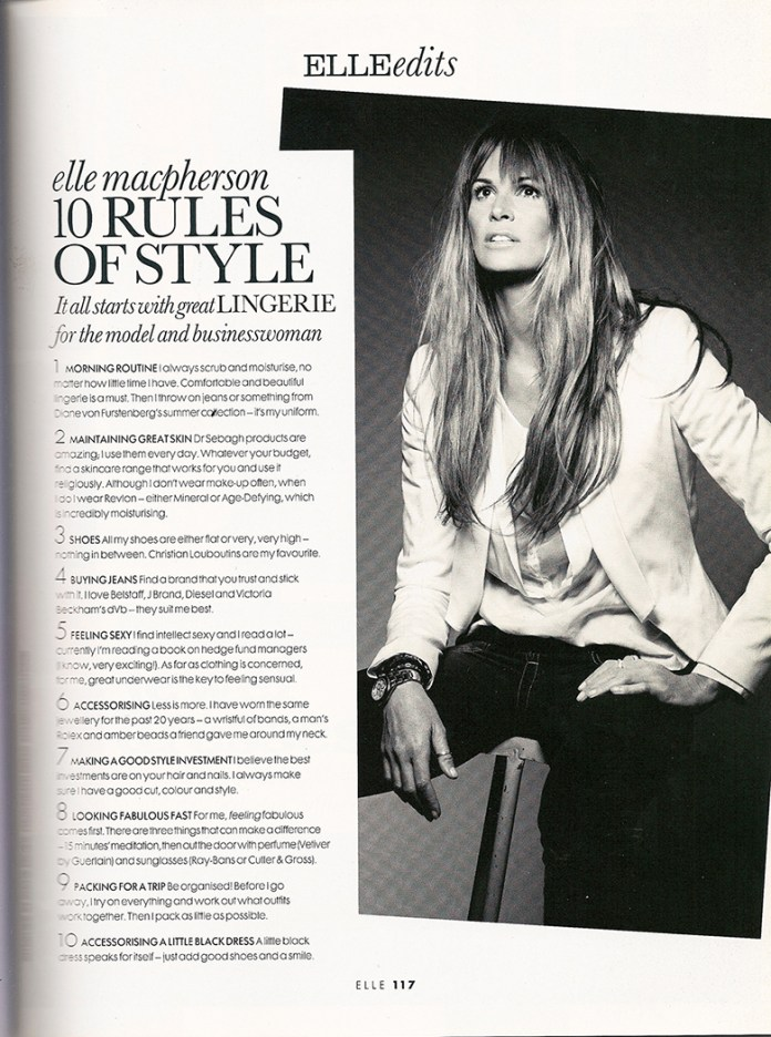 Elle Macpherson 10 Rules of Style