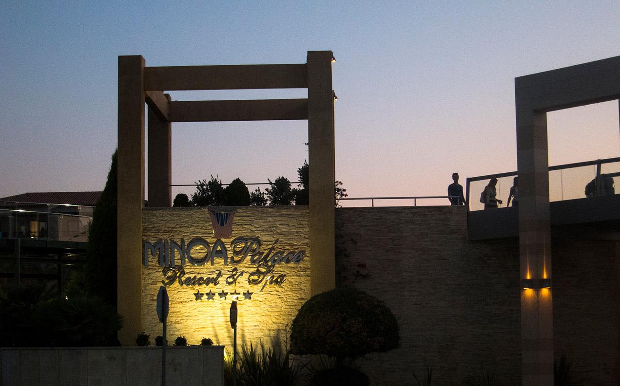 Facade of the Minoa Palace resort & spa in Platanias, Crete