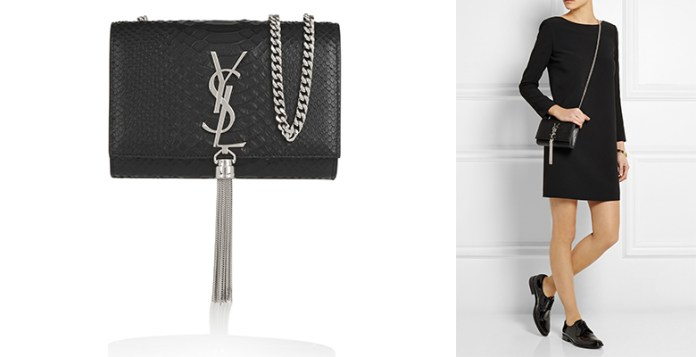 Saint Laurent Monogramme small snake-effect leather shoulder bag