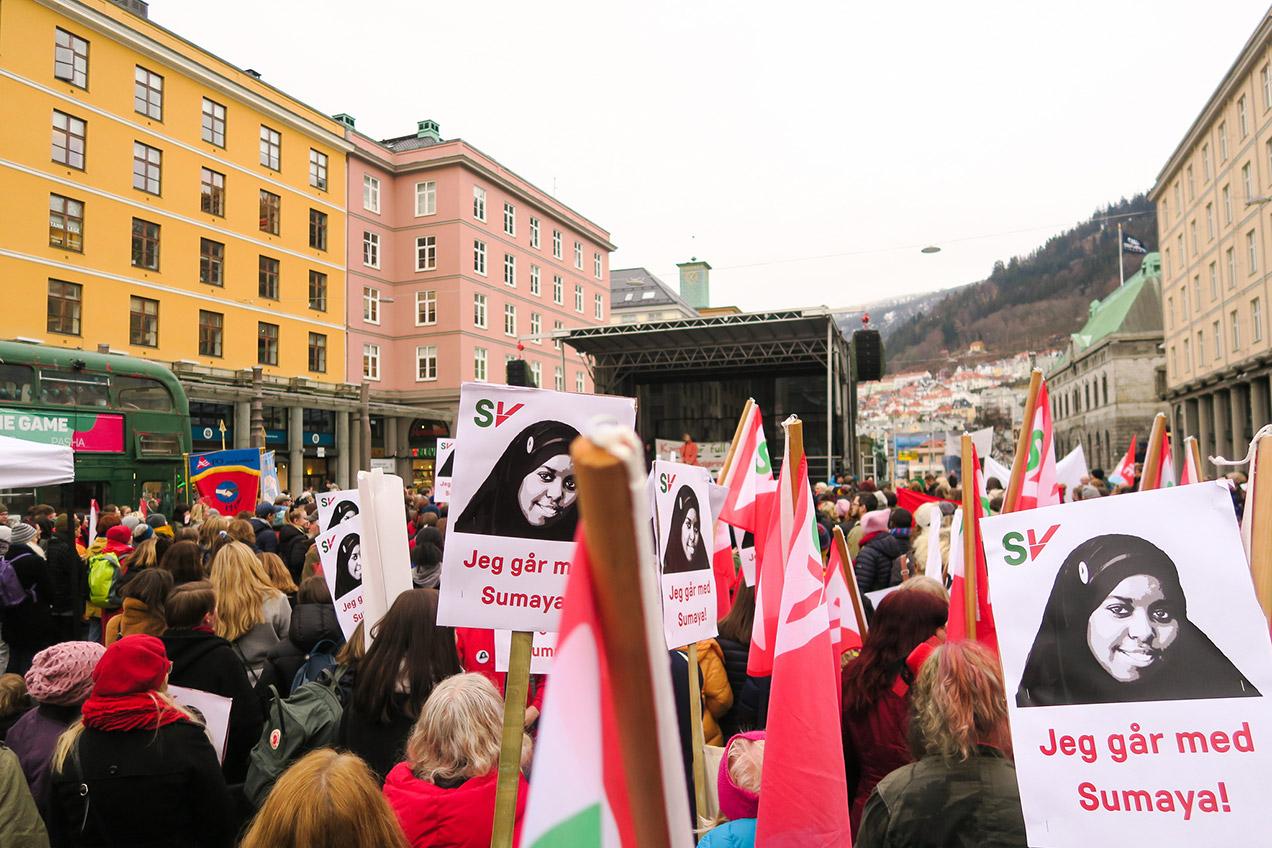 International Women's Day protest in Bergen, Norway