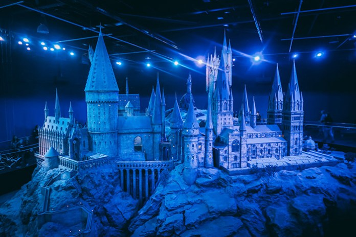 Scale model of Hogwarts Castle at the Warner Brothers Studio Tour in London.