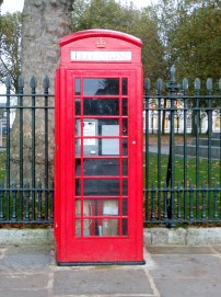 Traditional London phone booth