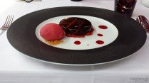 Rich chocolate tarte with sorbet