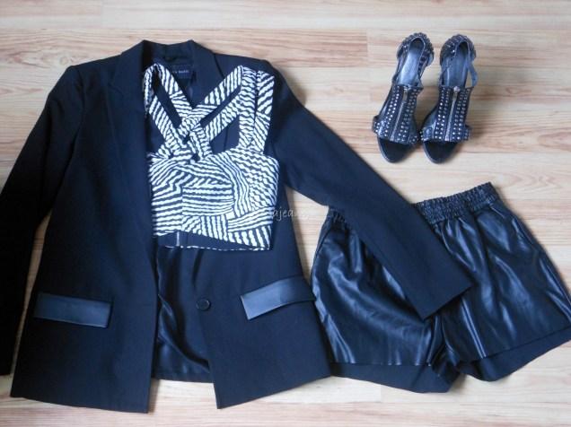 H&M shorts, Zara blazer, River Island crop top, Primark shoes