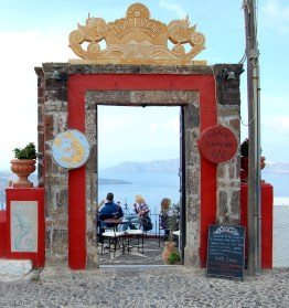 Door way to lounge bar Fira