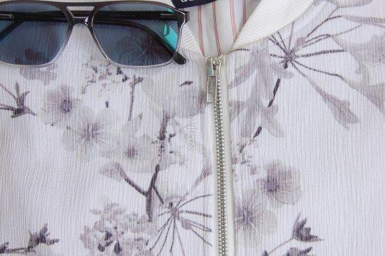 Floral bomber jacket details