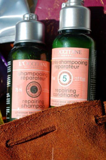 skincare on the go- l'occitane shampoo and conditioner