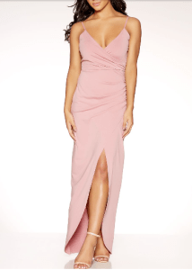wedding guest outfit ideas- pink maxi dress quiz clothing
