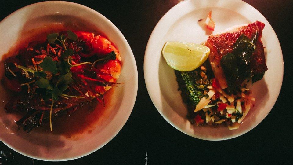 100 hoxton, tapas style- king prawn and fish