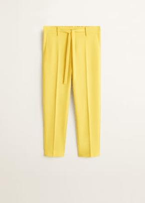 spring edit mango essential range- mustard trousers