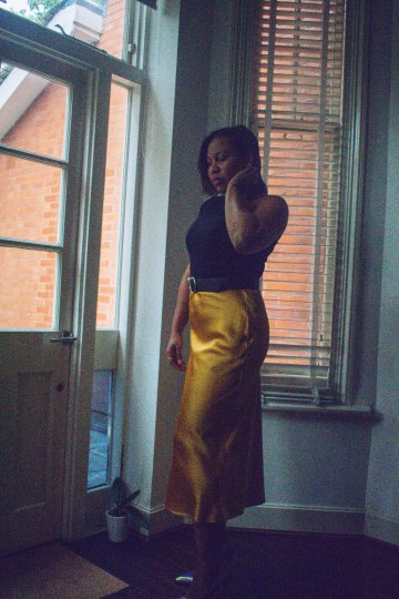 rinse and restyle with one-shoulder top, satin skirt
