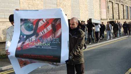 Protestors parade in key locations in Bradford against the Presence of Blackwater, an American security firm, believed to have a hand in many of the blasts in Pakistan as reported by the Media