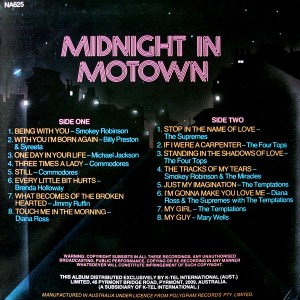 K-tel - NA625 - Midnight in Motown -Back cover