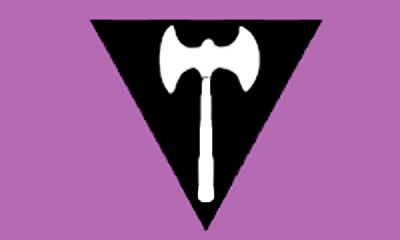 Lesbian flag with an upright white two-headed labrys axe on a point-down black equilateral triangle on a purple field.