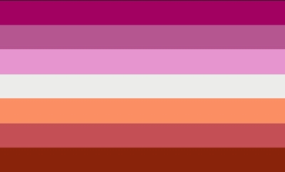 Lesbian flag with 7 horizontal stripes which are colored (top to bottom): dark pink, mid pink, light pink, white, orange, brick red, mid red