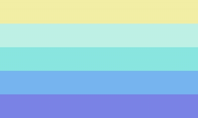Lesbian flag with 5 even horizontal stripes which are colored (top to bottom): yellow, sea foam, turquoise, sky blue, and lavender.