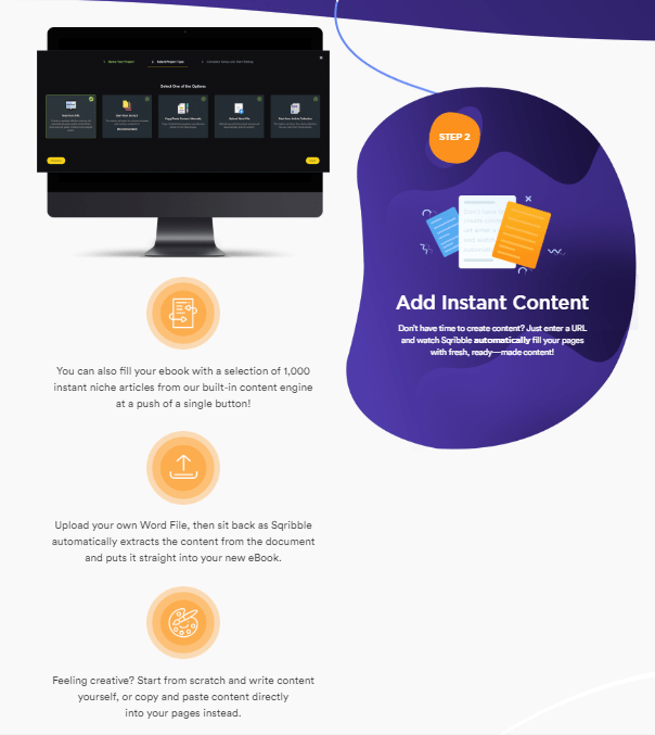 Step 2 of Squibble, Add instand content. Don't have time to create content? Just enter a URL and watch Squibble automatically fill your pages with fresh, ready made content