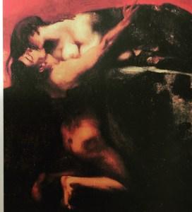 シュトゥックの【スフィンクスの接吻】 男性が窒息しそうなほど力強く口付けするスフィンクス。femme fataleへの恐怖心を描いています。