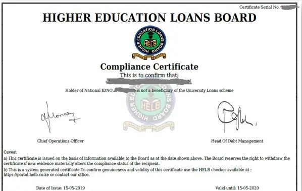 Free helb Compliance certificate application