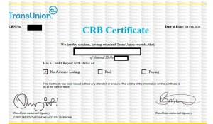 CRB Certificate