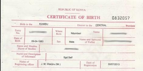 how to apply for birth certificate replacement in Kenya