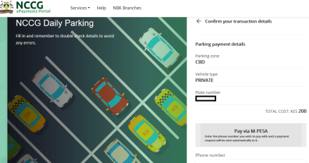 How to pay for car parking in Nairobi