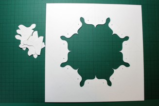 More delicate cutting, the top layer, which was also punched.